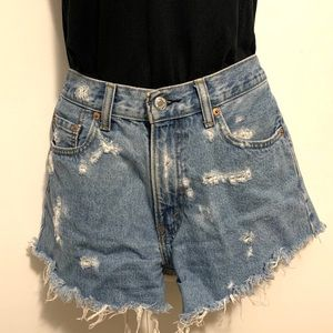 Levi's high waisted destroyed cut-off shorts